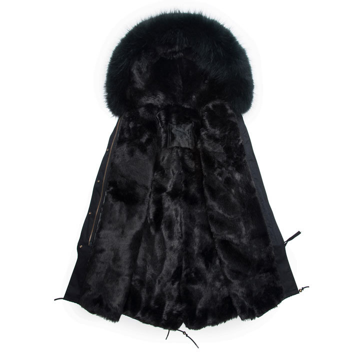 Los hombres de moda estilo largo negro parka con capucha abrigo de piel real chaqueta de invierno masculina carga libre