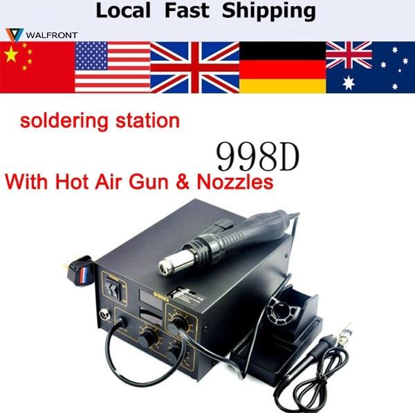 buy 220v 998d soldering station electric iron station welder hot air gun. Black Bedroom Furniture Sets. Home Design Ideas