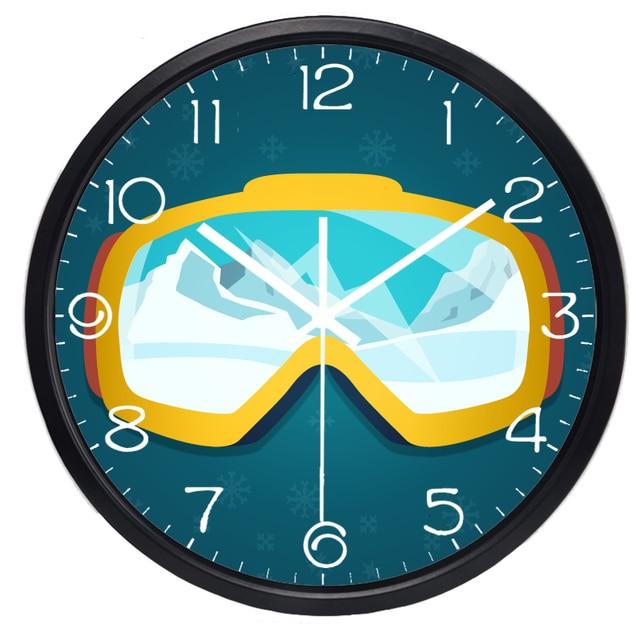 Creative Cartoon Ski glasses Wall Clock Hot Fashion Round Oversize ...