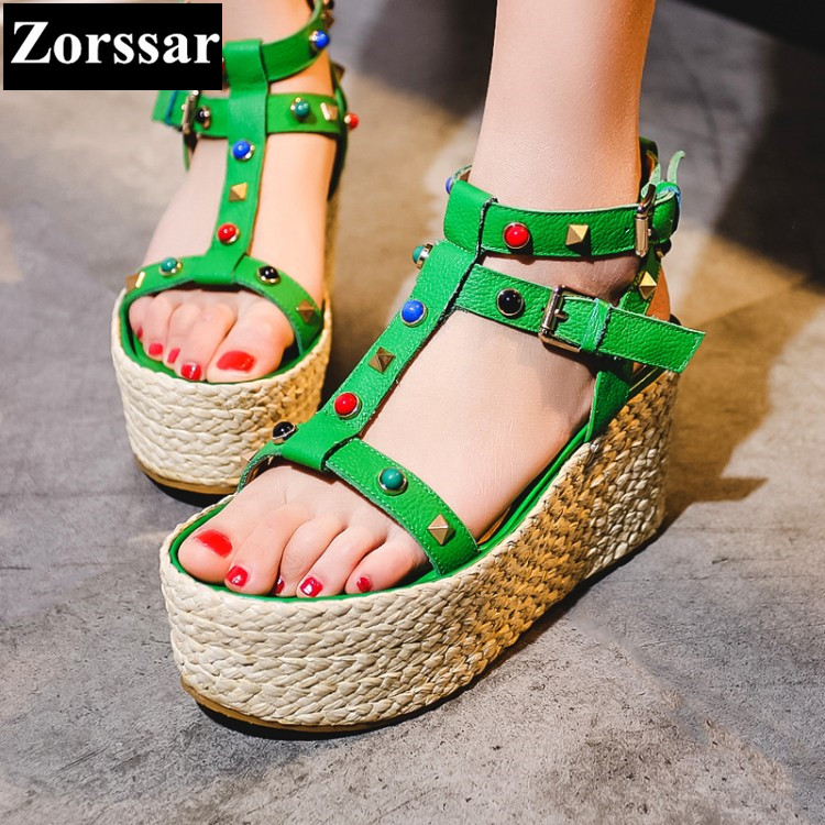 Green 2017 Summer Women Shoes platform wedges Sandals High heels Woman wedding shoes Fashion rivets Punk Roman gladiator shoes phyanic 2017 gladiator sandals gold silver shoes woman summer platform wedges glitters creepers casual women shoes phy3323