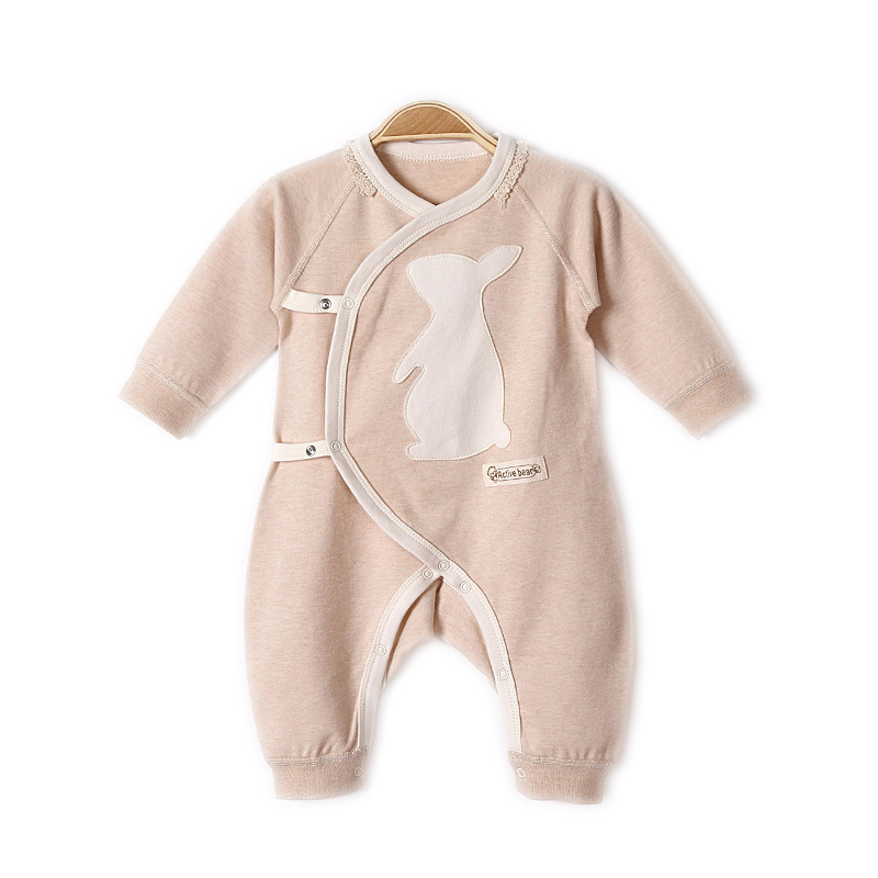 Newborn Little Baby Girl Boys Autumn Winter Long Sleeve Organic Cotton Rompers Unisex Baby V-neck Oblique Belt Jumpsuit Clothing warm thicken baby rompers long sleeve organic cotton autumn