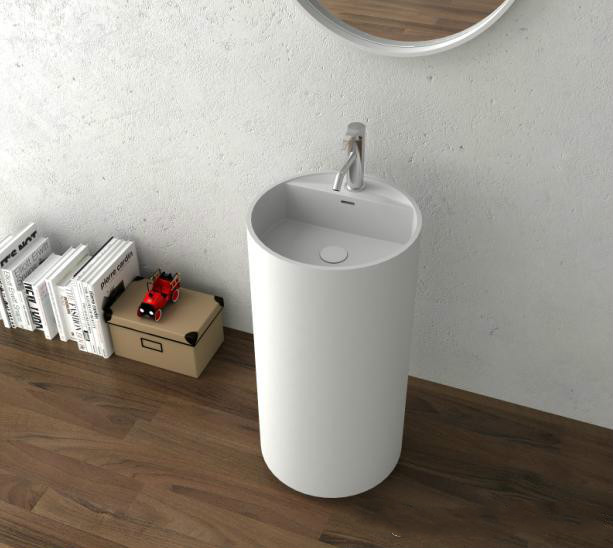 Bathroom Round Pedestal Freestanding Vessel Wash Sink