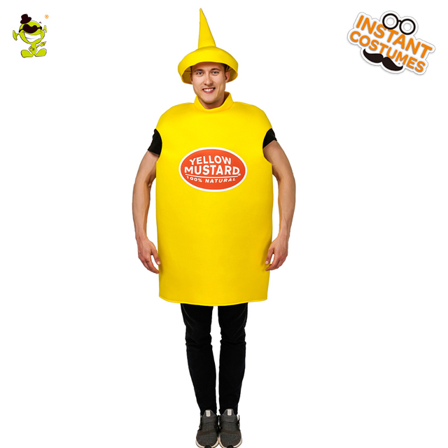 a42e3c73 New Men's Yellow mustard Costume Adult's Yellow Funny Jumpsuit For Men's  Cosplay Carnival Party Role Play Fancy Costumes
