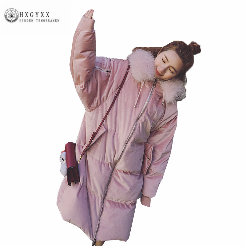 Han edition Loose Straight Winter Women Cotton Coat Fashion Leisure Long Female Parka Big fur collar Hooded Pink Jacket ZX0299 concept of vortex female student individuality creative watch han edition contracted fashion female table