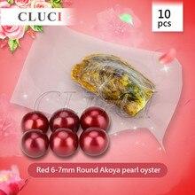 CLUCI AAA grado 10 unids 6-7mm akoya redondo Rojo perla de ostra con envasado al vacío