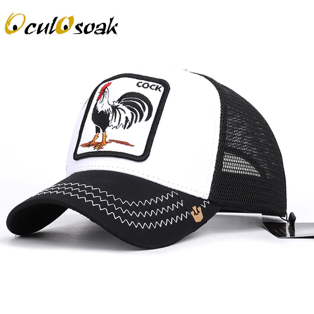 Animal cock embroidery   baseball     cap   high quality breathable size adjustable unisex streetwear outdoor shade men   baseball     cap