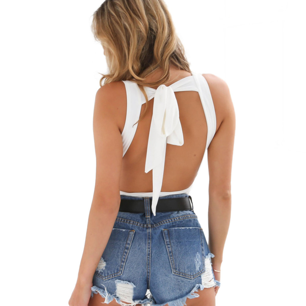 Women Lace Up Back Bodysuit Solid Color Stretch Sleeveless Catsuit Backless Self Tie Sexy Hot Jumpsuit Leotard Clubwear Black semi formal summer dresses