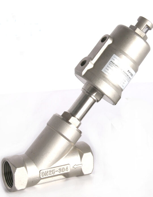 3/4  2/2 Way single acting stainless steel angle seat valve normally closed pneumatic angle seat valve 50mm actuator free shipping normally closed 3 4 pneumatic angle seat valve dn20 2 way stainless steel valve for air water steam