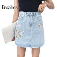 2017 Bazaleas Summer A Line Women Demin Short Skirt Flora Embroidery Jean Mini Skirts