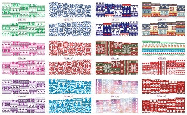 Na venda!! 1 lote de 10 artigos 12 New Style Nail Art Água Etiqueta Do Natal cachecol em 2016 para BN241-252