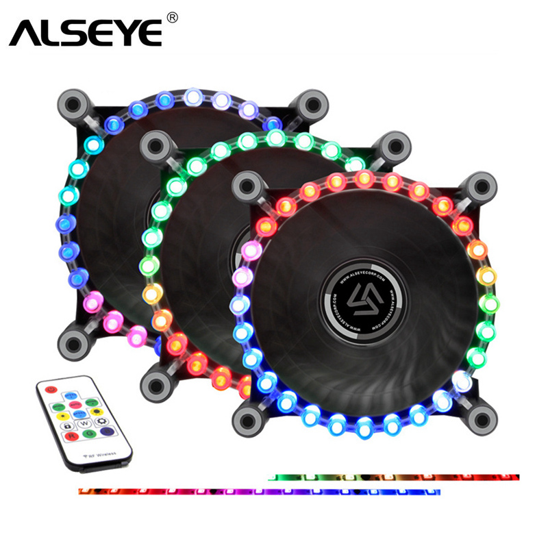 ALSEYE RGB Fan for Computer 12v LED Rainbow 120mm Fan Cooler Remote Control with RGB Strips Kit alseye x 200 fan controller computer fan speed and rgb controller 5 channels wifi function 2 rgb led strips sd tf card reader