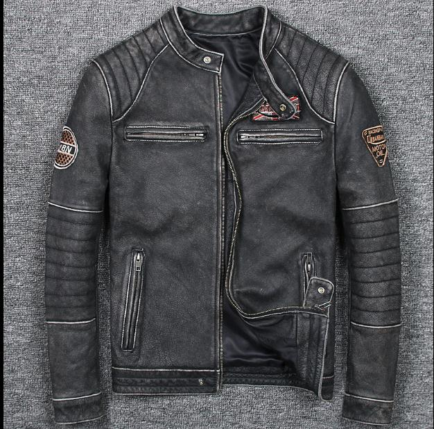8ec926d962 Free shipping plus size Brand New style Vintage men s quality genuine  leather Jackets slim nature 100