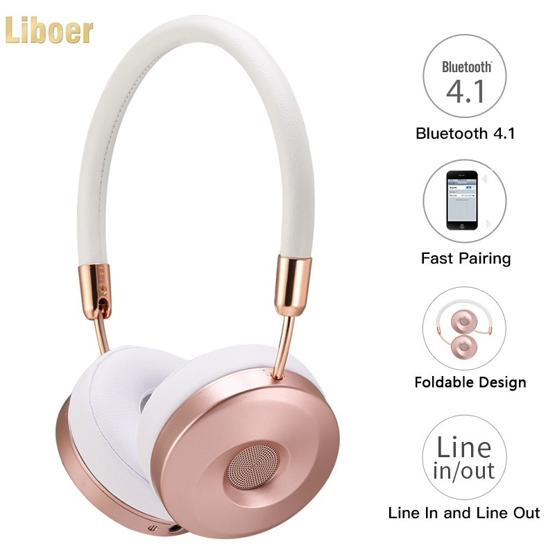Liboer Headband Headphones High Quality for Music Wireless Headphone Bluetooth with Mic Fashional Headphones Headset for Girls