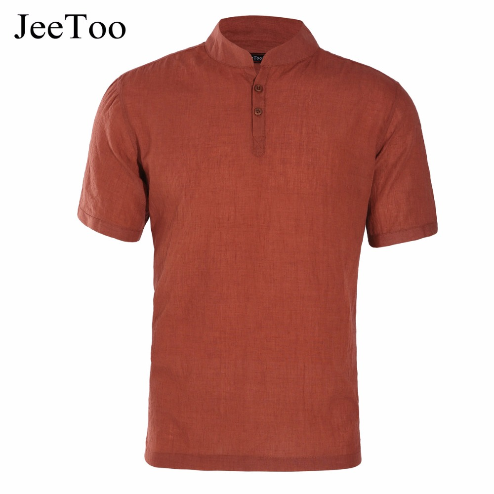 Jeetoo Brand Mens Polo Short Sleeve Men Summer Linen Polo Homme