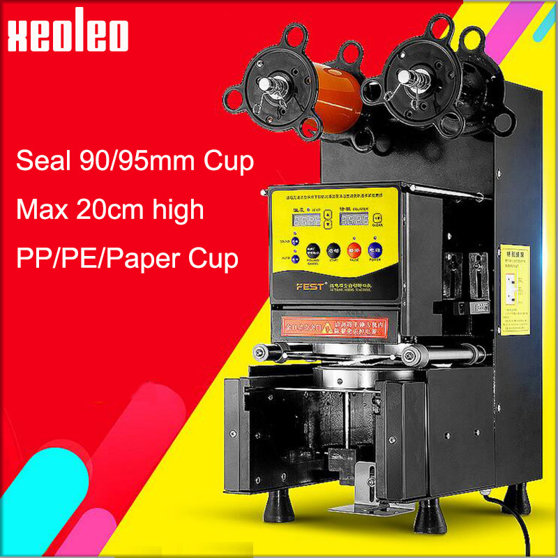 XEOLEO Milk tea Cup sealer 90/95mm Bubble tea machine Automatic Cup sealing machine seal PP/PE/PC/PAPER Soya bean milk cup edtid new high quality small commercial ice machine household ice machine tea milk shop
