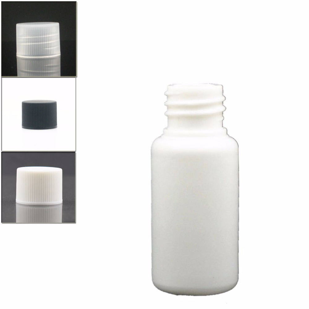 15ml Empty White Plastic Bottles, PE Bottle With White/black/transparent Ribbed Screw Lids X 10