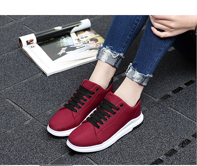 Stretch Fabric Casual Shoes Woman 2017 Fashion Spring Lace Up Ladies Shoes Breathable Women\'s Vulcanize Shoes Superstars ZD68 (24)