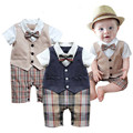 Gentleman Baby Rompers Summer Baby Boy Clothing Sets Roupa Bebes Newborn Baby Clothes Short Sleeve Infant Jumpsuit Party Clothes