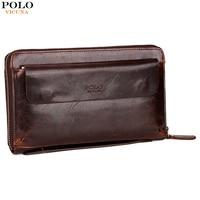 VICUNA POLO Genuine Leather Men S Clutch Handbag Large Capacity Long Wallet For Men Practical Vintage
