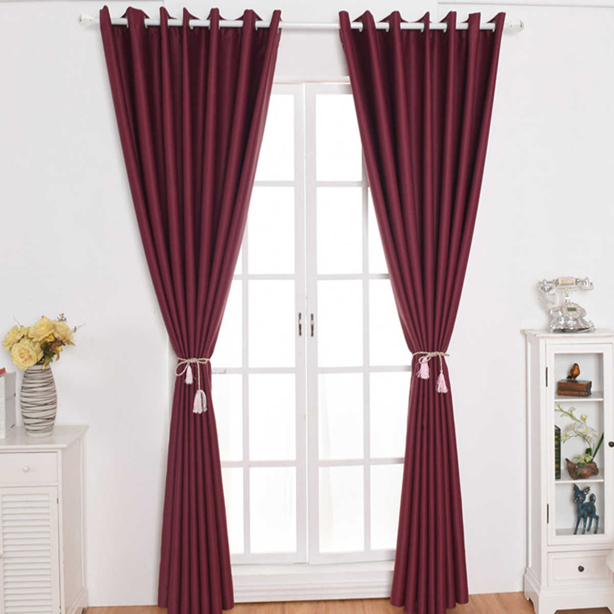 1pc Ultra Sleep Well Blackout Curtains Room Darkening Textured Grommet Window Curtains for Living Room Size 100*250 (Wine Red)