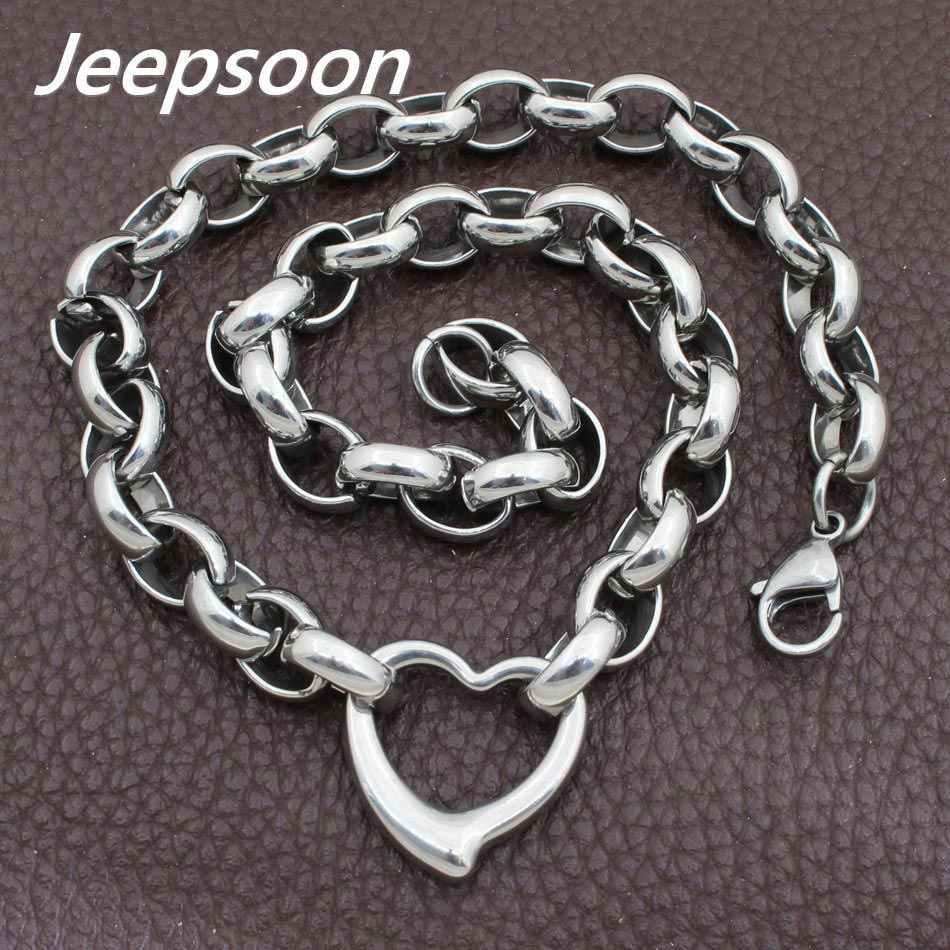 Sıcak Satış Moda paslanmaz çelik takı Joyas Kalp Kolye Zinciri Yüksek Kalite Jeepsoon NGEGAOBG