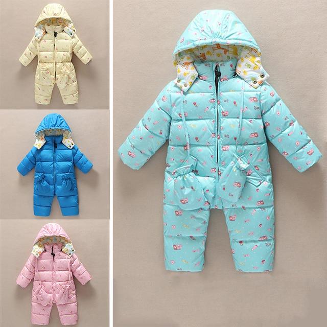 Детские толстые теплые пиджаки вниз пальто новорожденных девочек с капюшоном snowsuit зима мальчик вниз комбинезон одежда Новая детская одежда