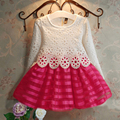 girls dress European/American children's clothing,girls Princess dresses,crocheted lace long-sleeved tutu dress girl's clothes