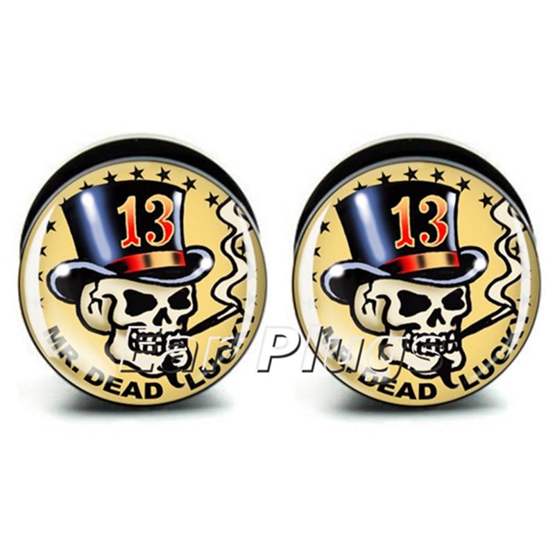 1 pair 13 Skull ear plug gauges black acrylic screw fit ear plug flesh tunnel body piercing jewelry PSP0752