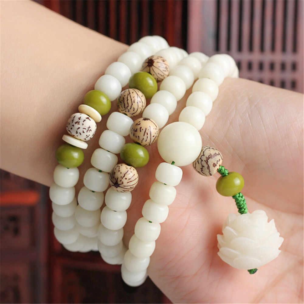 Oryginalna konstrukcja naturalna biel Bodhi korzeń bransoletka z koralików 108 Lotus Mala dla kobiet joga medytacja równoważenie biżuteria prezent dla niej