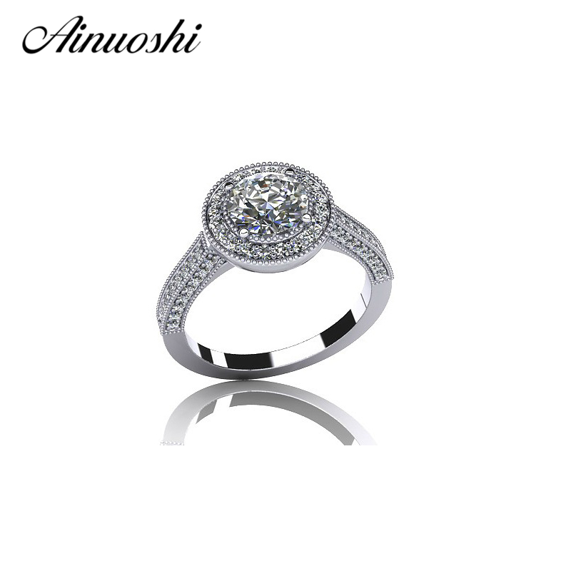 AINOUSHI Hot Sale Wedding Band Ring Halo Round Cut SONA Real 925 Sterling Silver Ring for Women Engagement Anniversary Gift hot sale new collection good quality luxuxious shine 925 real silver honeycomb lace ring