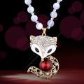 Moda de tudo - corresponder fox hollow camisola de cadeia longa de inverno feminino colar decorativa presente da jóia de cristal colar de cadeia longa