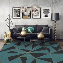 Модный современный роскошный темно зеленый золотые линии коврик