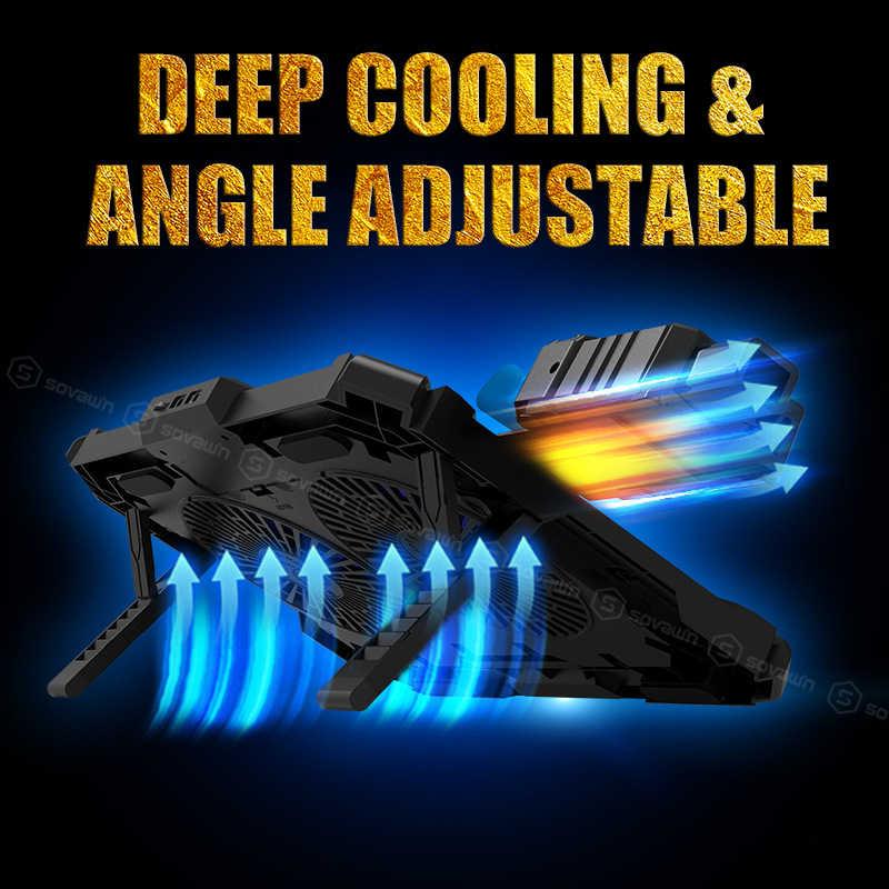COOLCOLD 2 en 1 Conjunto de almohadilla enfriadora para portátil de 17 'enfriado por aire profesional Base de refrigeración de ventilador doble enfriador ajustable para hp