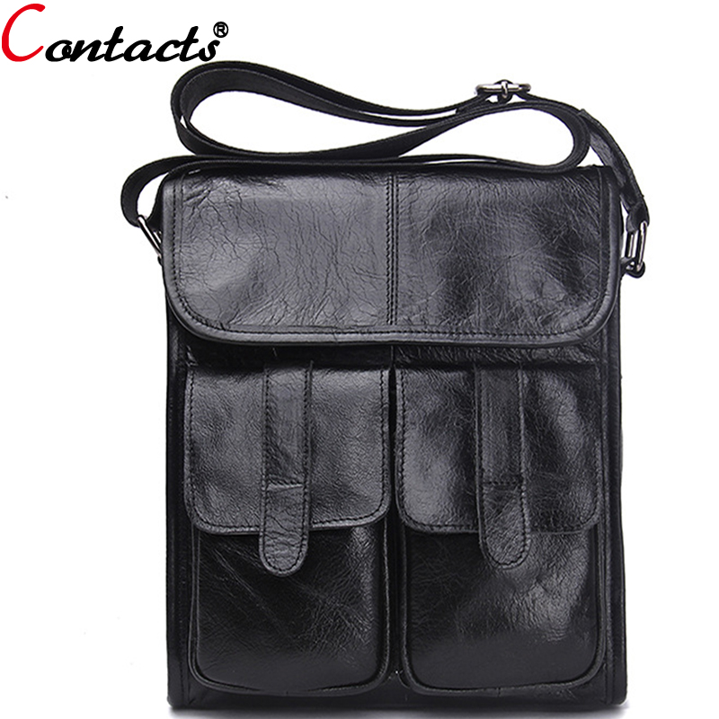 CONTACT'S Messenger Bag Men Leather Genuine Men's Crossbody Bags Famous Brand Shoulder Bags For Male Casual Business bolsas 2016