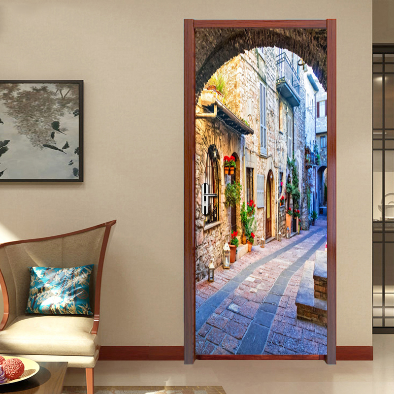 Italian Town Street View Door Mural Wallpaper For Living Room Bedroom Door Sticker Decoration Self-Adhesive Waterproof Tapety 3d door sticker livingroom bedroom wall decoration paris eiffel tower pvc waterproof self adhesive door stickers wallpaper mural