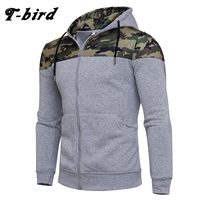 T Bird Hoodie Men Cardigan Camouflage Hip Hop Sweatshirt Men S Hoodies 2017 Winter Fashion Stitching