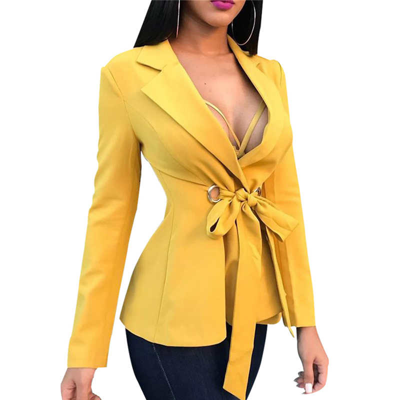 Coat Suit Spring Long-Sleeved-Strap Temperament Female Autumn Yellow Fashion New And