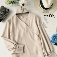 2018 New Women Fashion Spring OL Irregular V Neck Halter Button Korean Casual Shirt Ladies Long