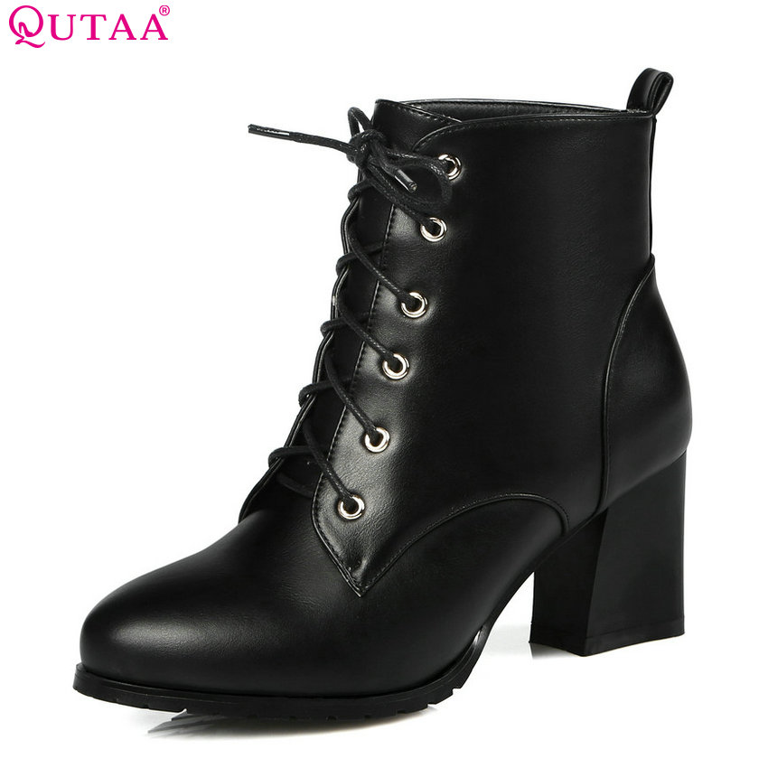 QUTAA 2019 Women Ankle Boots Fashion Lace Up Pu Leather Platform Square High Heel Pointed Toe Shoes Women Boots Big Size 34-43 winter female woman round high engraving heel mid high rhinestone crystal buckle black real leather boots pointed toe shoe 1118