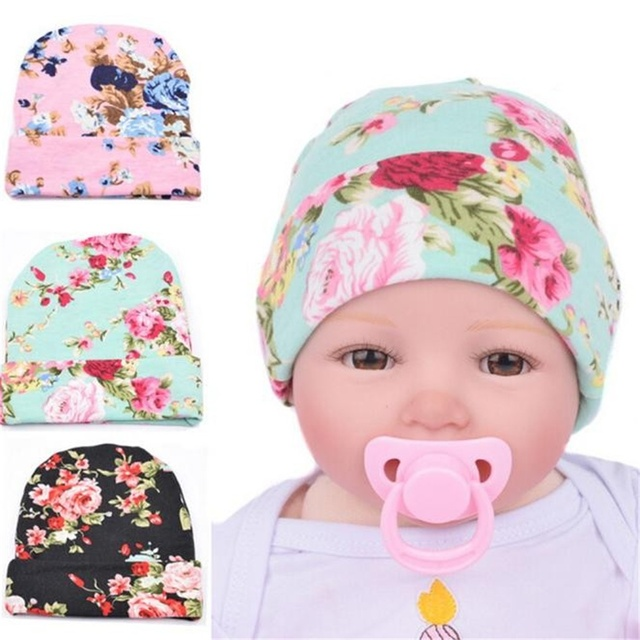 a62f5b77f78 hat 2018 newborn Hospital Hat Baby Hats With Flower Bowknot Flower kids hats  baby bonnet for baby girl boys best love