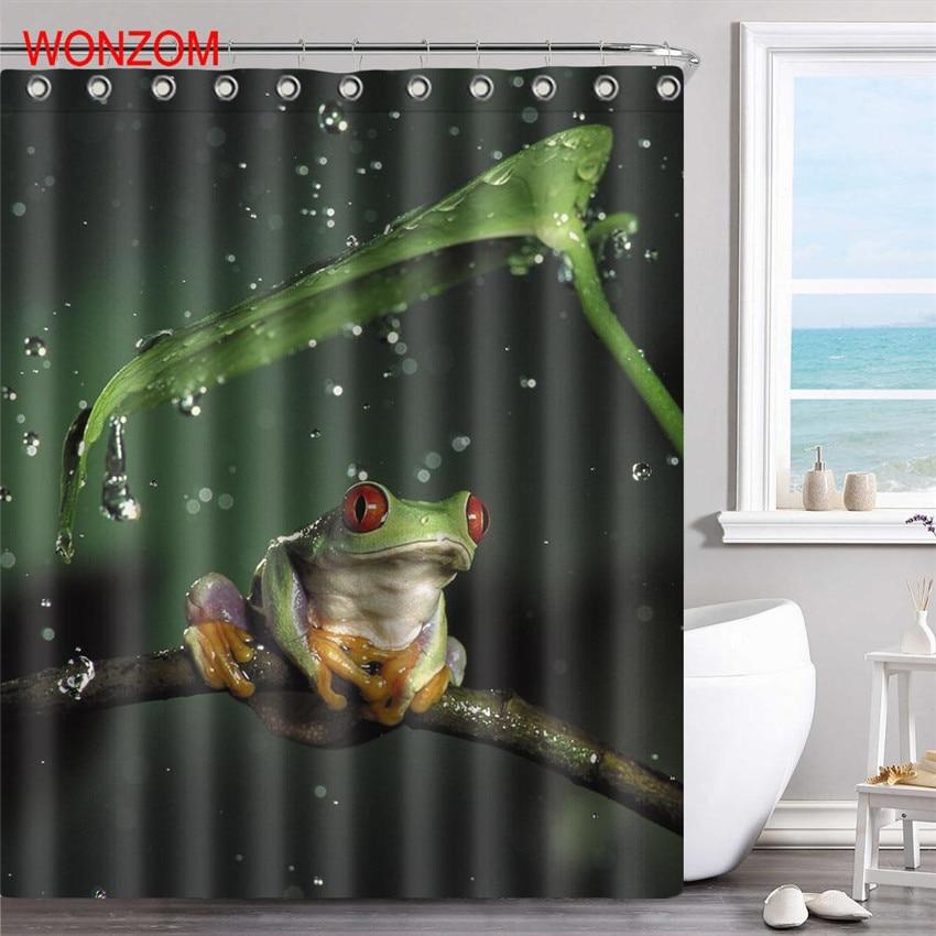 Nice WONZOM Frog Polyester Fabric Flamingo Shower Curtain Bathroom Decor  Waterproof Animal Cortina De Bano With 12