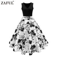 ZAFUL Women Vintage Dress Retro 50s Rockabilly Floral Print High Waist Summer Party Dress Elegant Female