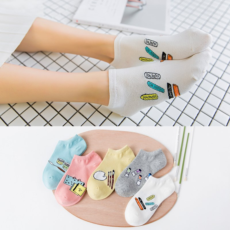 ZQTWT 5Pair/Lot 2017 High Quality Cute Cat Striped Women Socks Creative Casual Cotton Funny Animals Socks for Female 2WZ043 1