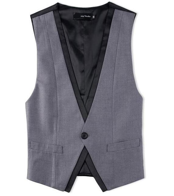 2016 New Men's Clothing British Style Slim Masculino Cotton  one button Sleeveless Jacket Waistcoat Men Suit Vest