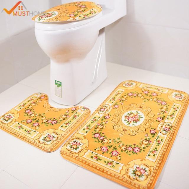 3PCS Western Style Bathroom Rug Set Europe Floral Bath Mats And Toilet Set