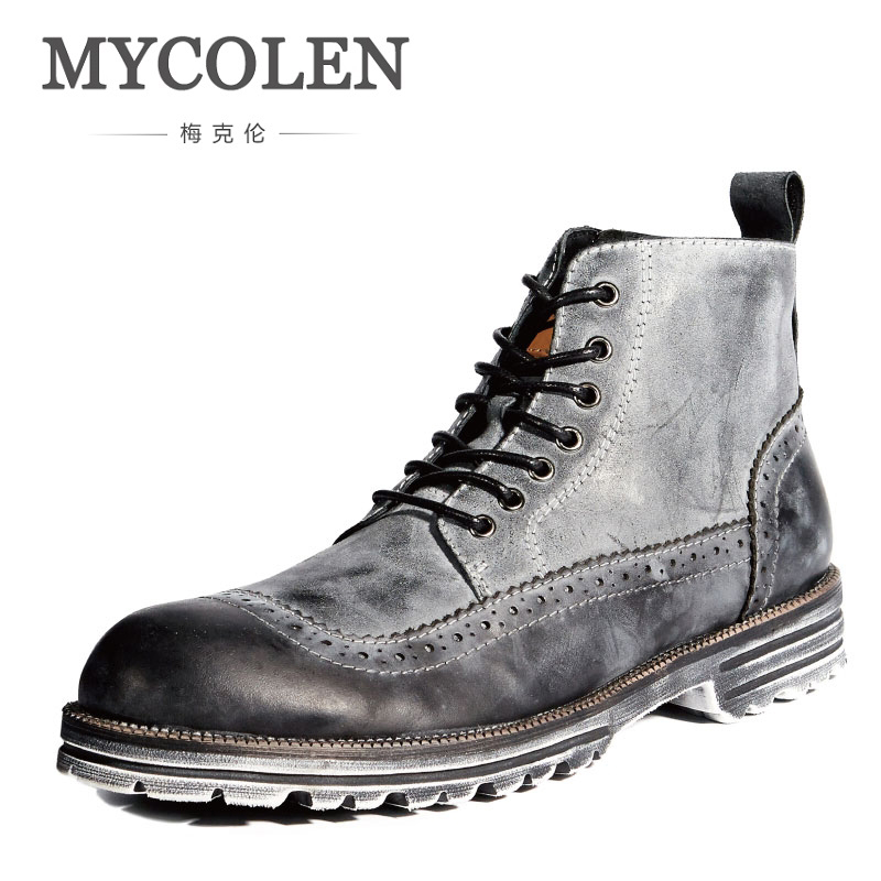 MYCOLEN Men Low Trim Winter Autumn Boots Handmade Casual Martin Shoes Men Fashion Male Boots Leather Footwear Leather Boots Man mycolen new men s winter leather ankle boots fashion brand men autumn handmade boots leisure martin autumn boots mens shoes
