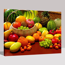 Frame Oil Painting By Numbers DIY Kits Drawing Fruits And Vegetables Picture Hand Paint Coloring On Canvas Kitchen Wall Artworks(China)
