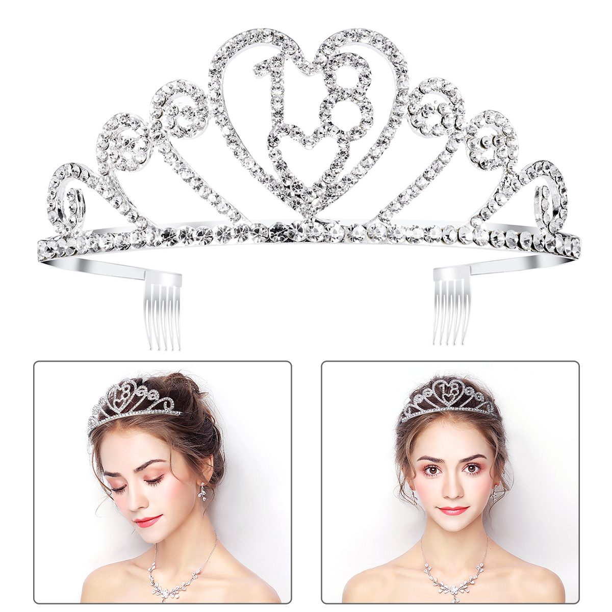 PIXNOR <font><b>18th</b></font> Girls Adult Ceremony Rhinestone Decorated <font><b>Crown</b></font> Hair Barrettes Clip Loop Hairband for 18 <font><b>Birthday</b></font> Wedding Supplier image
