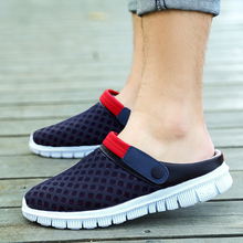 2017 new Summer men's semi-cool slippers male non-slip beach shoes lazy pedal hole shoes couple breathable mesh shoes