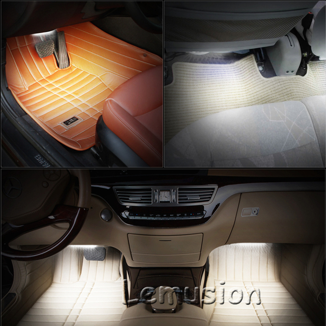 LENTAI 1Set Car LED Atmosphere Lights 12V RGB LED Lamp Strip For Citroen C4 C5 Hyundai Solaris I30 VW Polo T5 Ford Fiesta Fusion